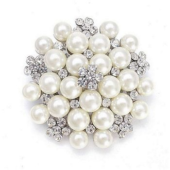 White Pearl and Crystal Cluster Bridal Brooch