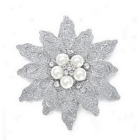 Etched silver tone flower brooch with ivory pearl and crystal cluster