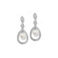 Pave cubic zirconia bridal earrings with caged pearl