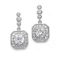 Cubic zirconia earrings with art deco fames and dainty bezels