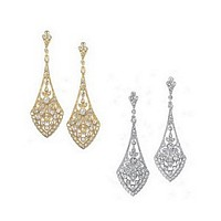 Cubic zirconia encrusted flare design earrings