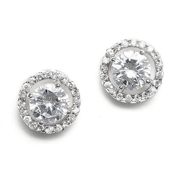 earings earrings bridesmaid cz floral cubic zirconia stud flower crystal bridal