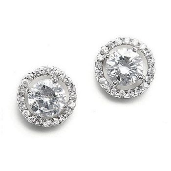 Cubic zirconia circles with inlaid halo earrings