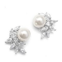 Bridal earrings with a crescent cubic zirconia design surrounding a single pearl