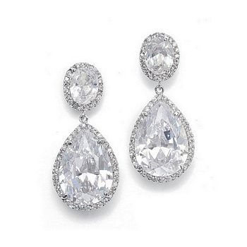 Cubic Zirconia pave framed oval earrings with pear shaped drops