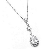 Clear pear drop pendant cubic zirconia necklace