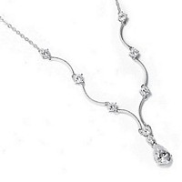 Silver scalloped necklace with cubic zirconia teardrop