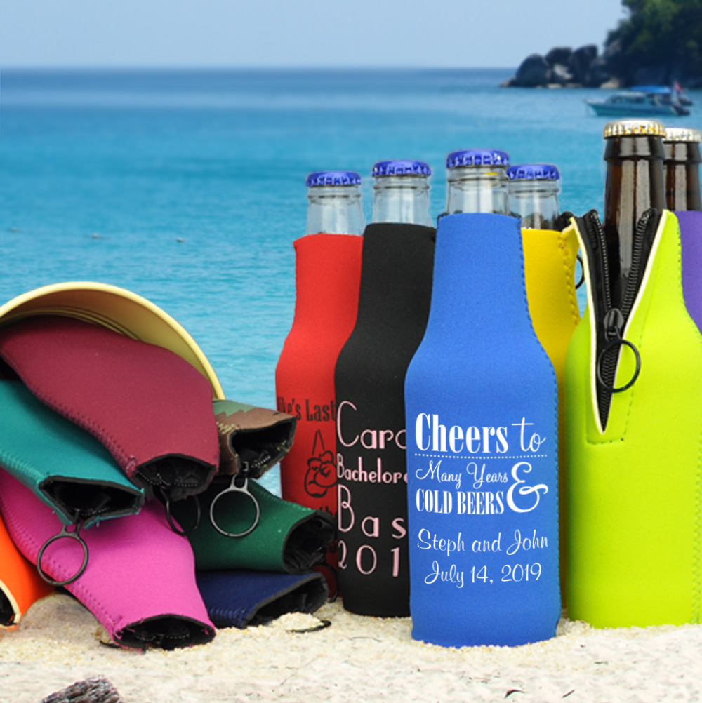 Personalized zip-up neoprene bottle huggers