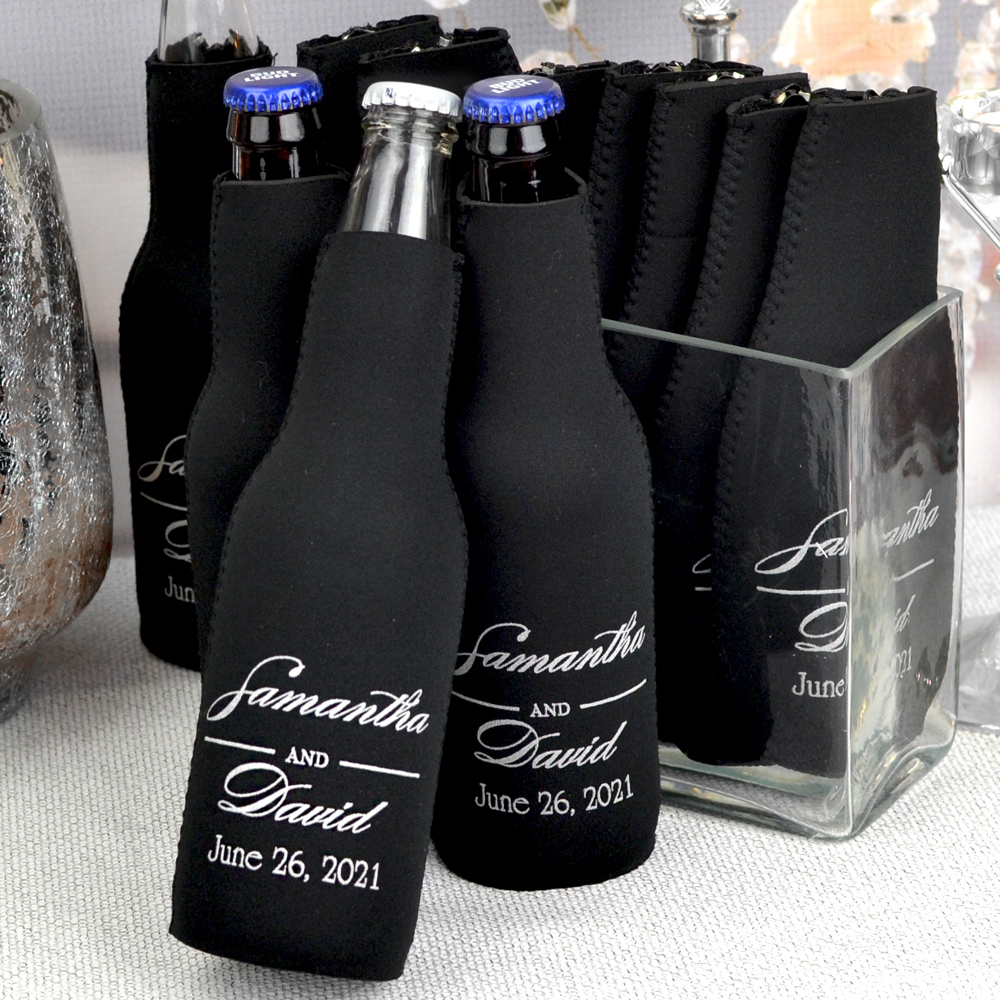 Personalized premium neoprene bottle huggers featured in black with white imprint.