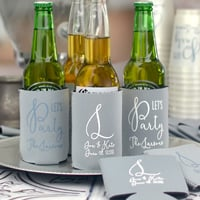 Personalized beer can coolers and bottle huggers wedding favors