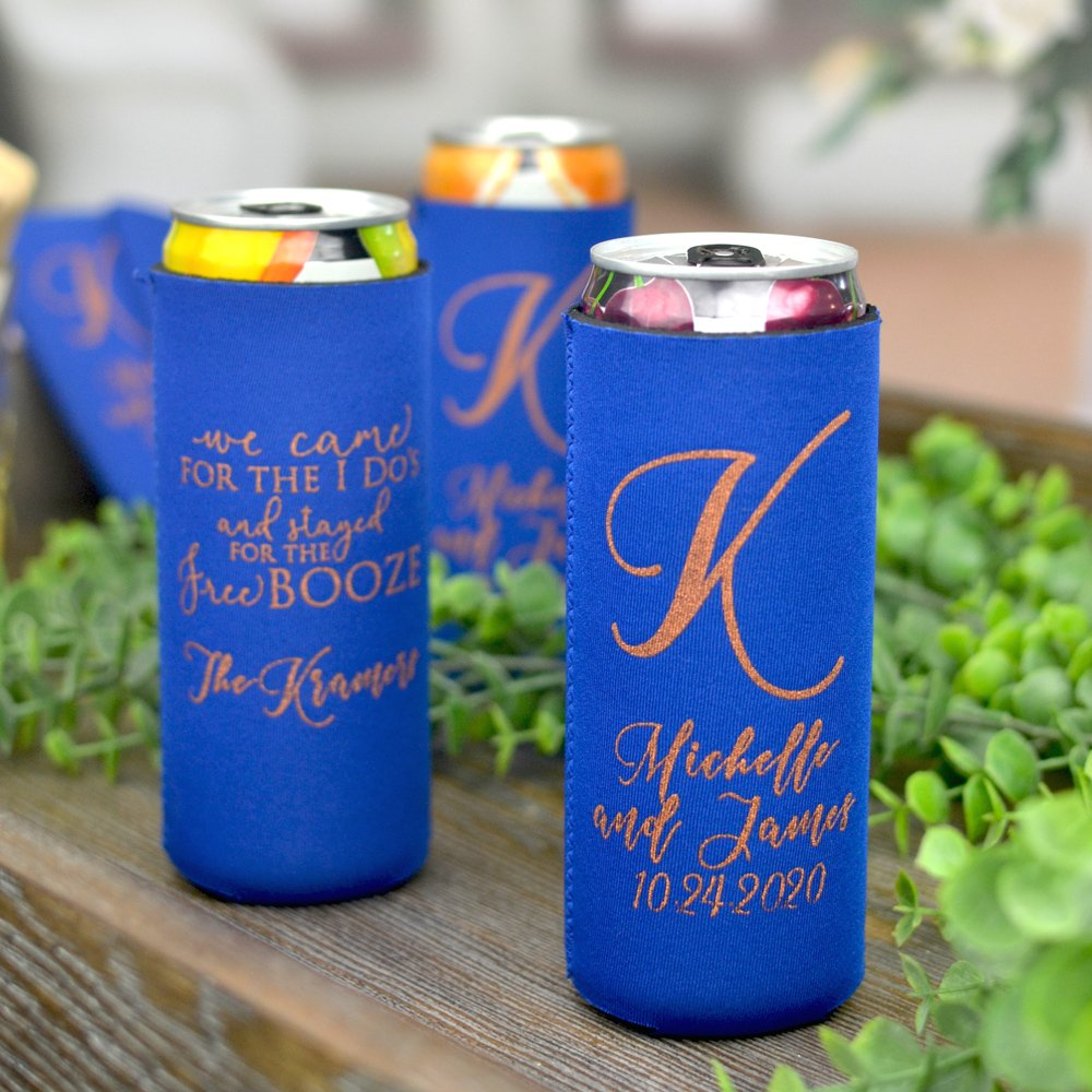 Royal Blue collapsable neoprene can cooler for tall, slim beer and hard seltzer cans personalized with Copper imprint color and Modista lettering style.