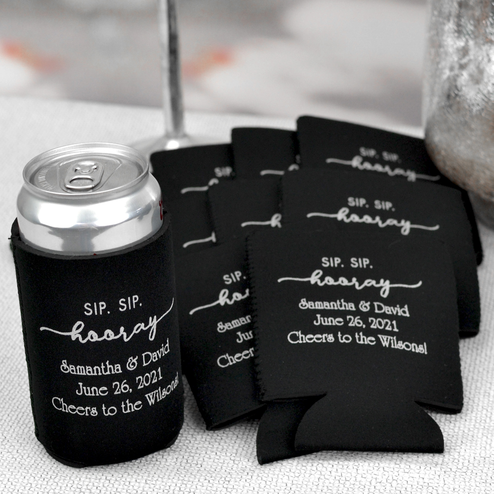 Soft collapsible black can coolers personalized with wedding designs and custom print in silver imprint color.