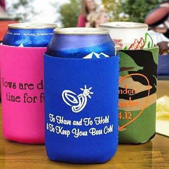 Personalized koozies with popular personalization shown in fuchsia ...
