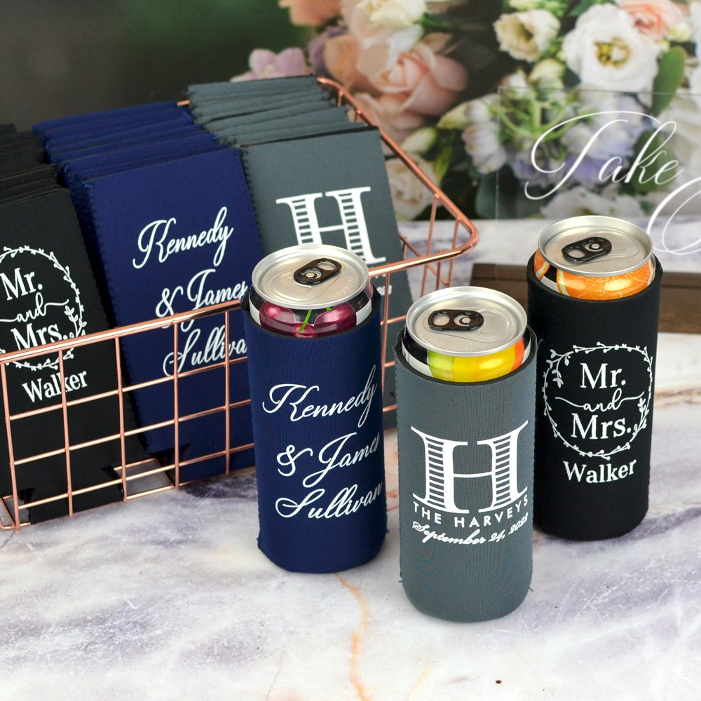 Collapsable neoprene can cooler for tall, slim beer and hard seltzer cans, personalized with your choice of design or monogram and text. Choose from assorted can cooler colors and imprint colors. View free instant online proof.