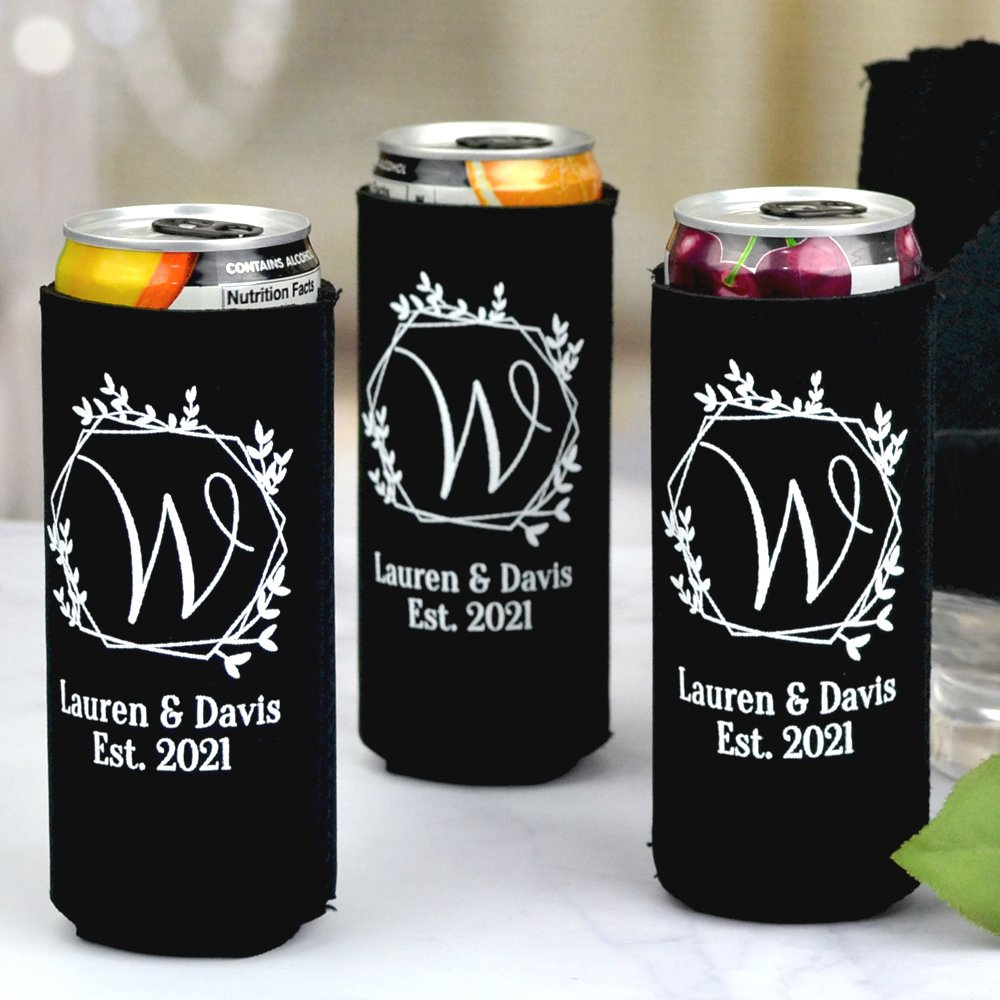 Black collapsable neoprene can cooler for tall, slim beer and hard seltzer cans personalized with White imprint color and Oranienbaum lettering style