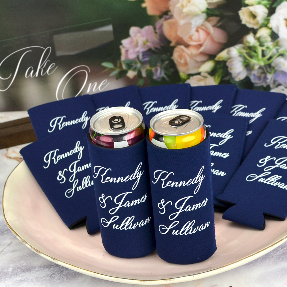Navy Blue collapsible premium neoprene wedding can coolers for slim cans, personalized with three lines of print in white imprint