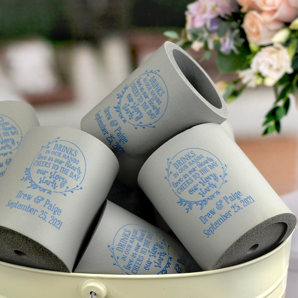 Thick upright foam beer can coolers personalized with wedding designs and custom print