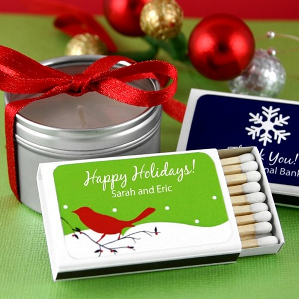 23 strike matchboxes with personalized holiday labels