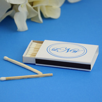 white matchbox personalized with monogram format M-25 using lettering style Edwardian and imprint color Blue