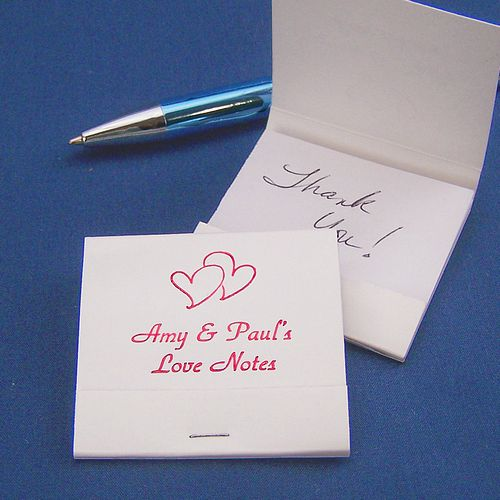 Custom Printed 20 Page Matchbook Notepad Wedding Favors