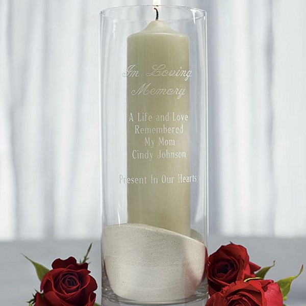 11 x 4 in loving memory personalized glass memorial candle holder
