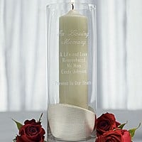 In Loving Memory 11 x 4 Personalized Glass Memorial Candle Holder