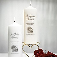 Personalized Memorial Pillar Candle in White or Ivory