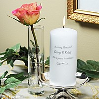 Personalized Memorial Pillar Candle with Stand and Bud Vase