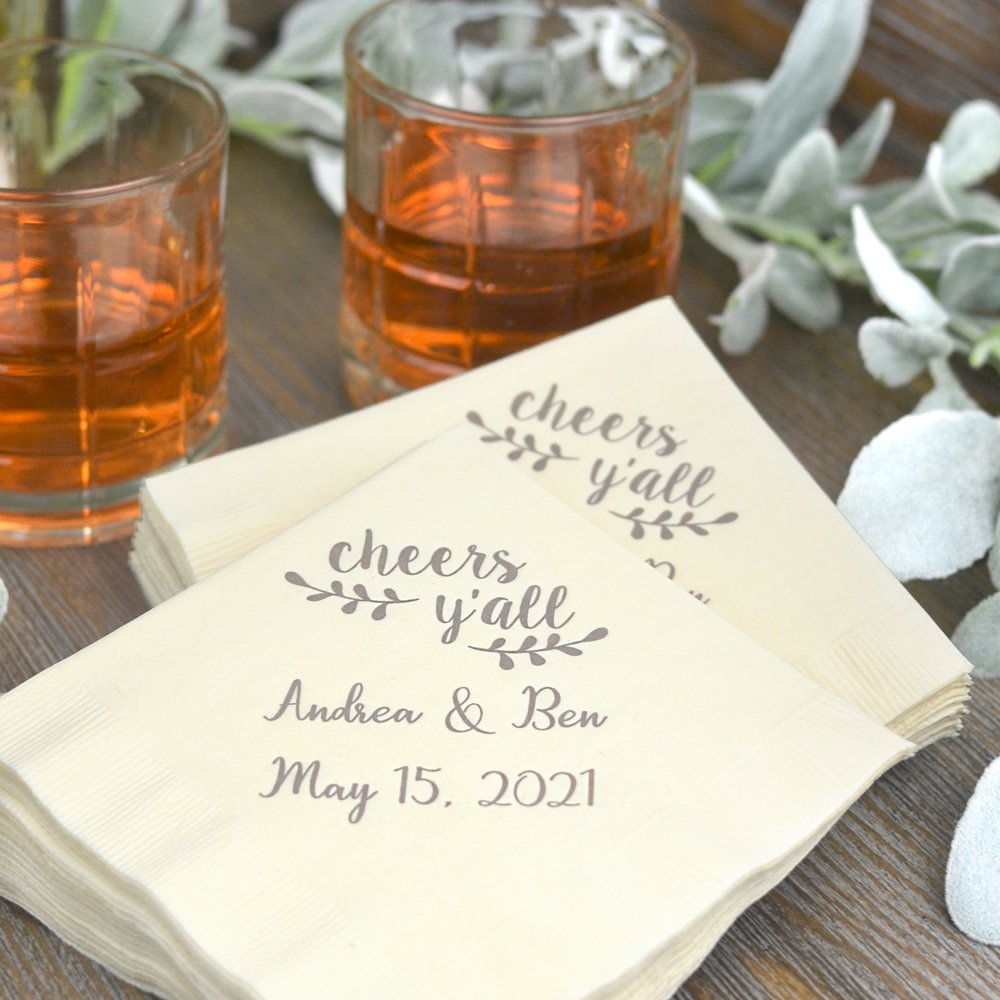 3-Ply paper beverage and appetizer napkins personalized with Cheers Yall design and 2 lines of custom print. See what your custom wedding napkins will look like with free instant online proofing.