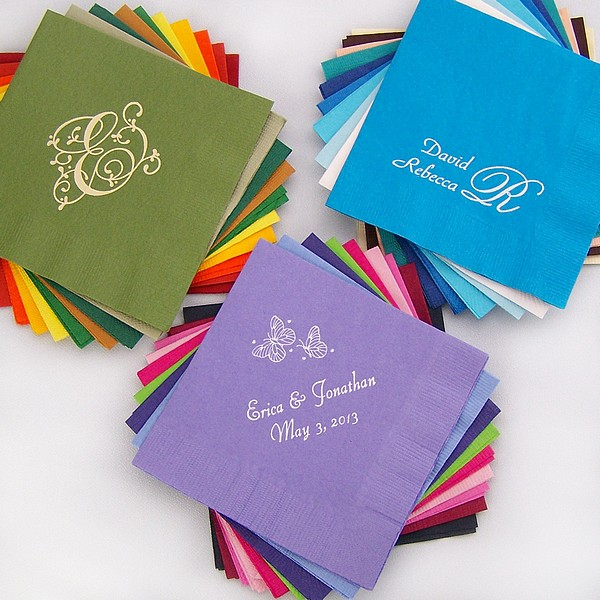 Custom printed 3-ply paper wedding beverage napkins