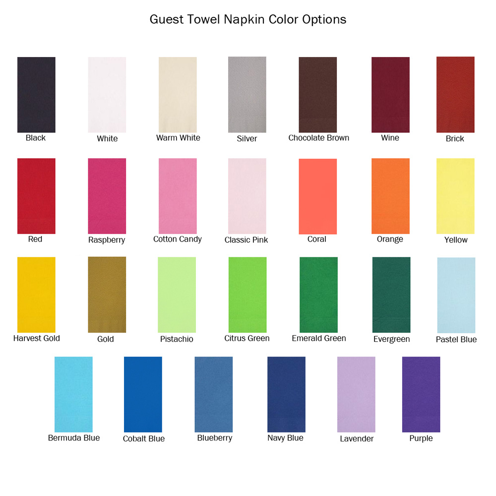 Choose from assorted napkin color options for your personalized guest towels