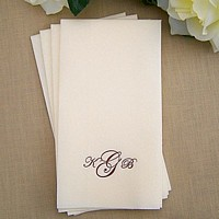 Personalized ecru fine linen disposable guest towel printed with Chocolate Matte imprint and VIP-ED1 monogram.