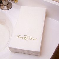 Masslinn guest towel printed with Gold imprint, M-32 monogram format, and Edwardian lettering style