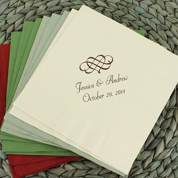 Personalized luncheon napkins printed with H10 wedding design and two lines of text in Chocolate Matte imprint color