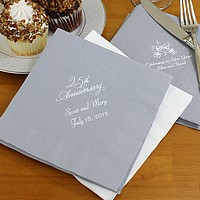 Silver anniversary luncheon napkins printed with white matte imprint color, anniversary design, and two lines of text