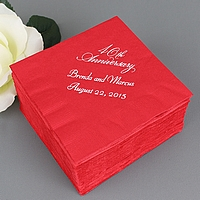 Red 40th anniversary cocktail napkins printed with White Matte imprint color, VW40 design, and two lines of text in Florentine Cursive lettering style
