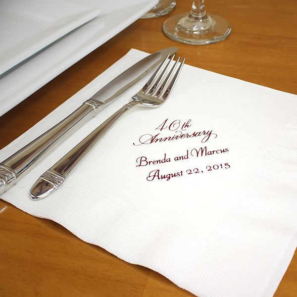 White dinner napkins printed with Metallic Red imprint color, VW40 anniversary design, and two lines of text in Florentine Cursive lettering style