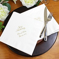 White dinner napkins printed with Antique Satin imprint color, VW50 anniversary design, and two lines of text in Florentine Cursive lettering style