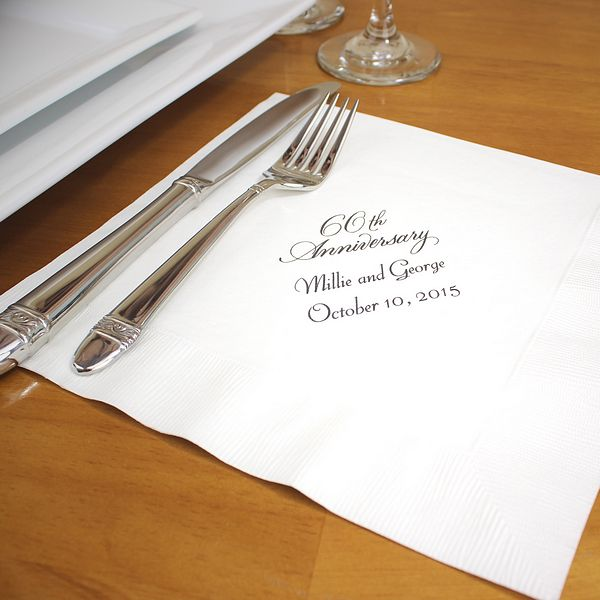 8 x 8 Personalized 60th Anniversary 3-Ply Paper Dinner Napkins