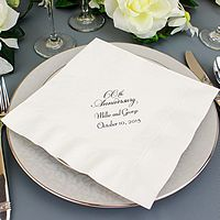 Personalized white dinner napkins printed with Black ink, VW60 anniversary design, and two lines of text in Florentine Cursive lettering style