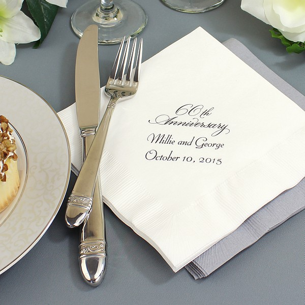 60th Wedding Anniversary Ideas: Custom Printed 60th Wedding Anniversary Luncheon Napkins
