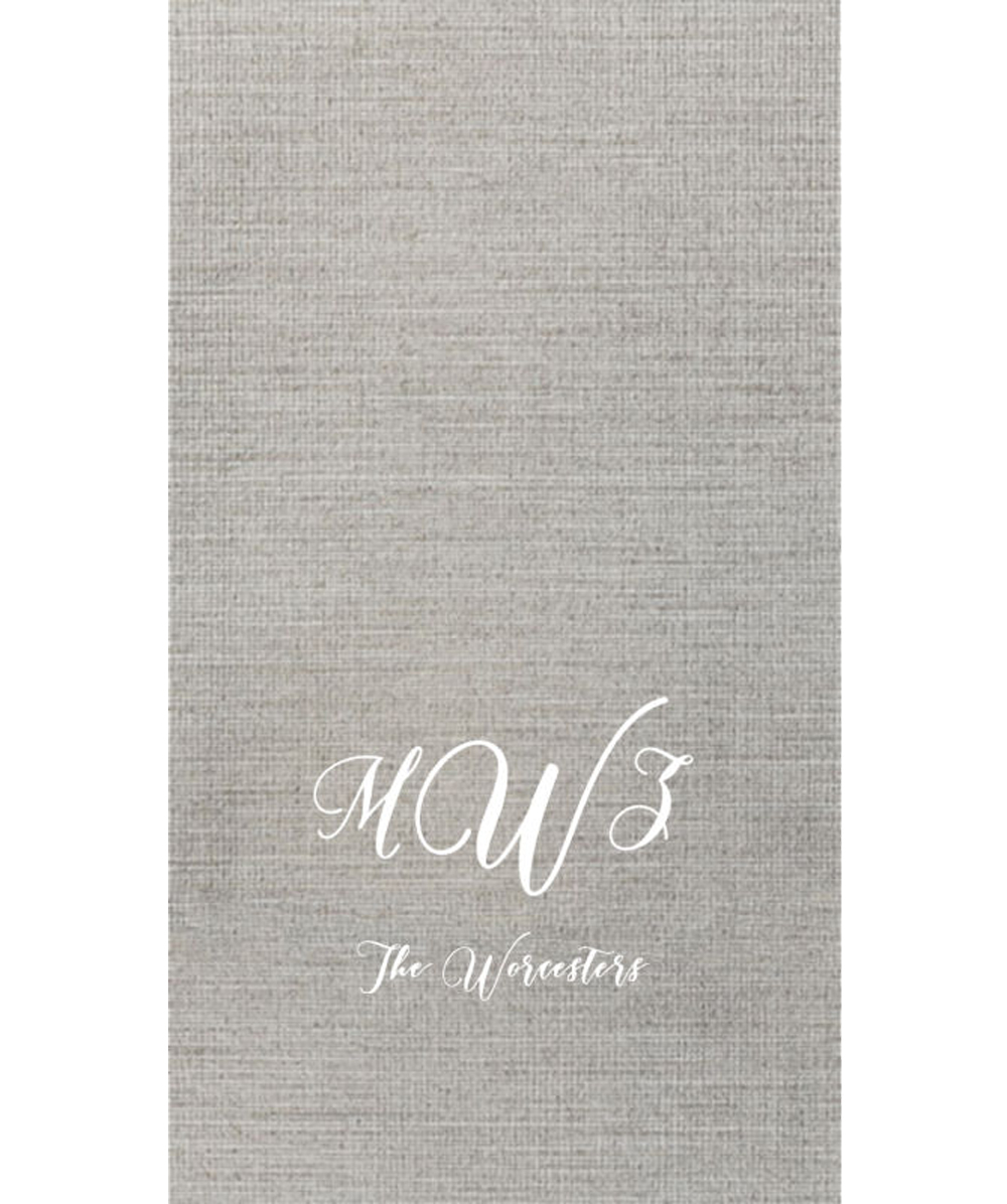 Silver Bella Guest Towel with White Imprint, 3-Letter Monogram and a single line of text in the Modista Lettering Style.