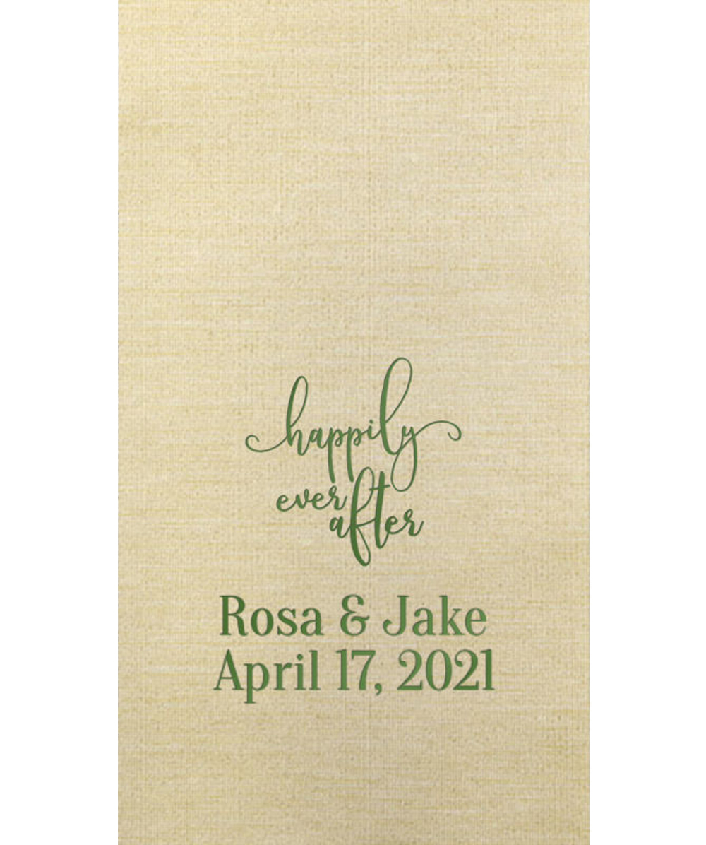 Bella Guest Towel in Champagne with Metallic Olive Imprint
