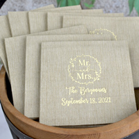 Bella Cocktail Napkin in Taupe with Ivory Imprint Color.