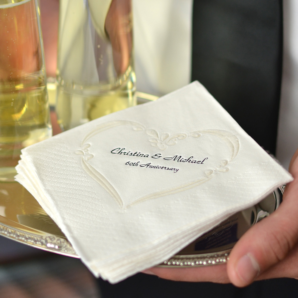 White renaissance heart pearl embossed cocktail napkins printed with Black imprint