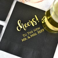 Custom printed 3-ply paper wedding cocktail napkins