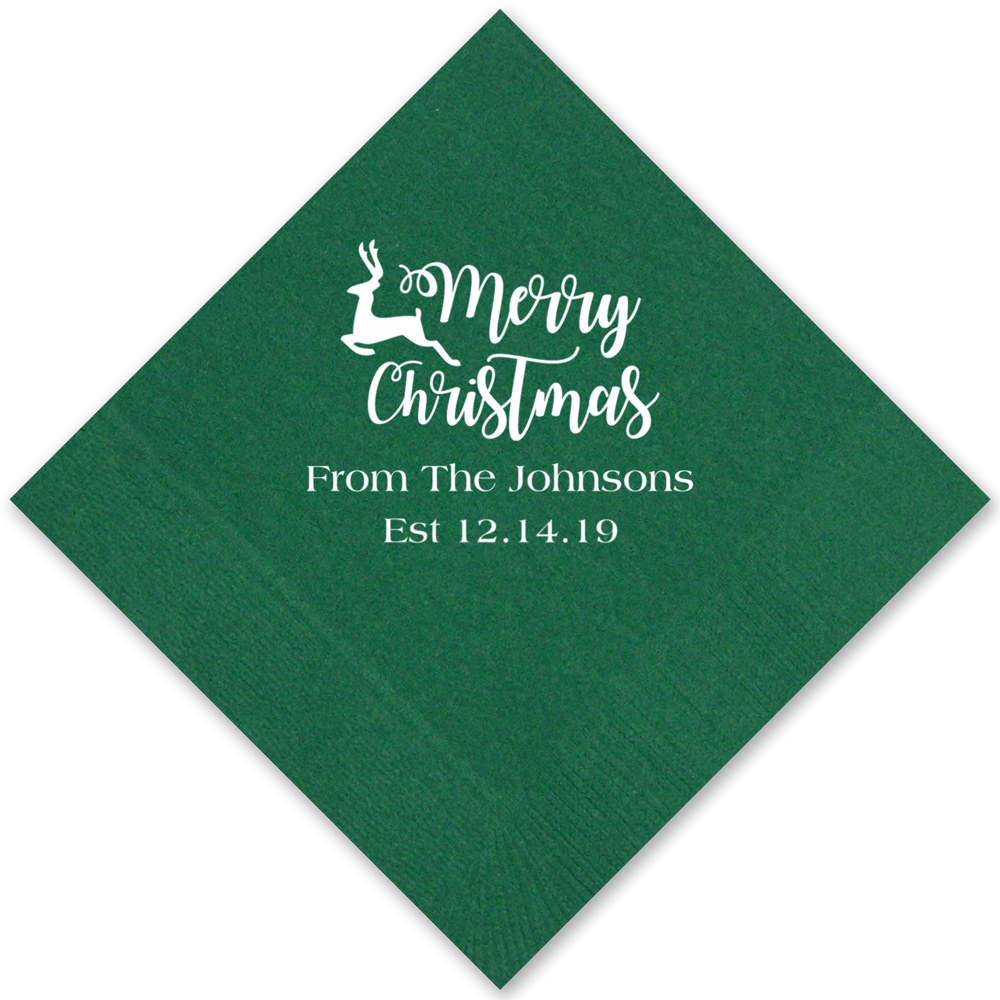 Forest green cocktail napkins with white imprint with CS1111 design and two lines of text in Strong lettering style