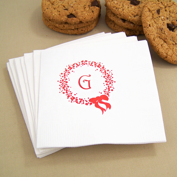 White holiday wreath personalized Christmas cocktail napkins with red imprint color