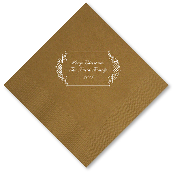 Ornate frame personalized Christmas napkins