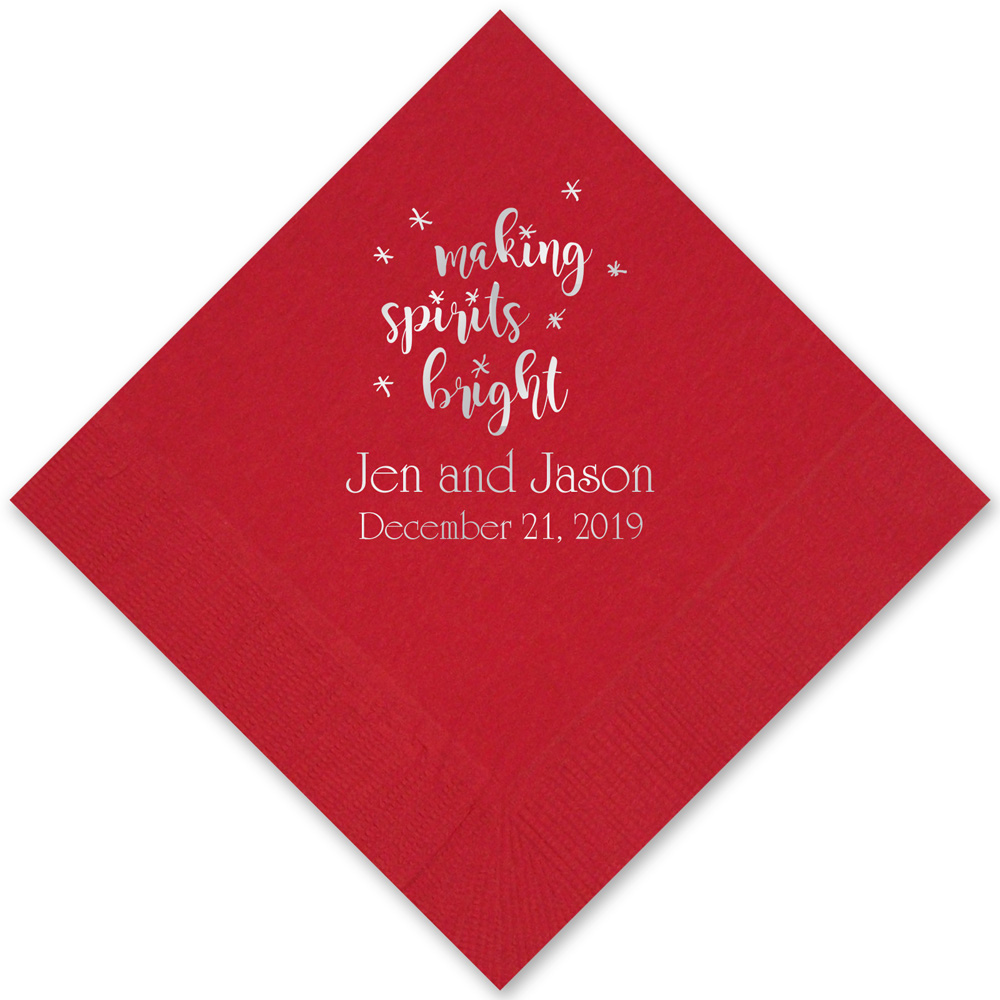 Red cocktail napkins with Silver imprint with CS1113 design and two lines of text in Poised lettering style